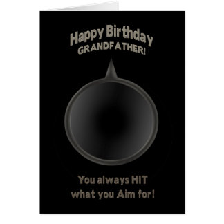 BIRTHDAY -GRANDFATHER - GUN - AIM GREETING CARD