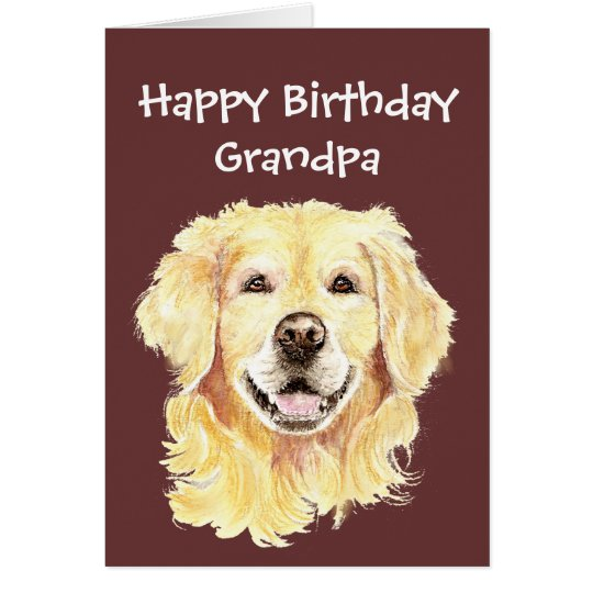 Birthday Grandpa Watercolor Golden Retriever Dog Card