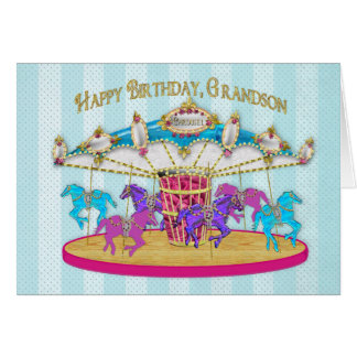 Birthday - Grandson - Carousel Card