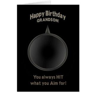 BIRTHDAY -GRANDSON - GUN - AIM GREETING CARD