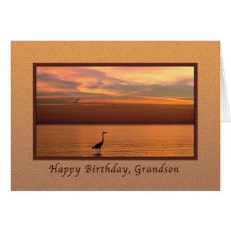 Birthday,  Grandson, Ocean View at Sunset Card