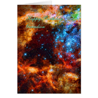 Birthday Grandson, Stellar Group, Tarantula Nebula Card