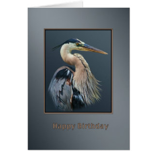 Birthday, Great Blue Heron Bird in Silver and Gray Greeting Card
