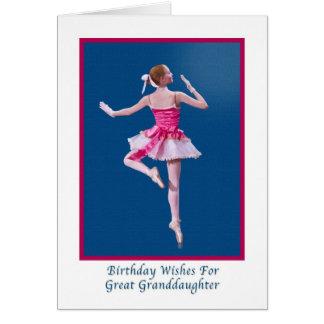 Birthday, Great Granddaughter, Ballerina on Blue Greeting Card