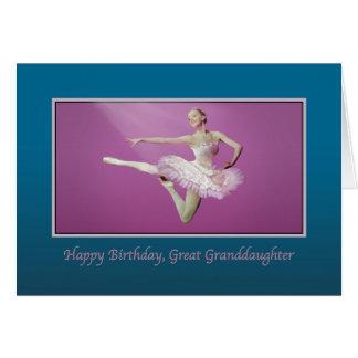 Birthday, Great Granddaughter, Leaping Ballerina Greeting Card