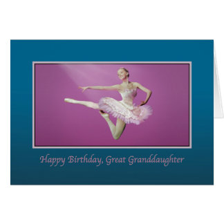 Birthday, Great Granddaughter, Leaping Ballerina Greeting Card