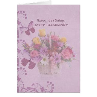 Birthday, Great Grandmother, Basket of Flowers Greeting Card
