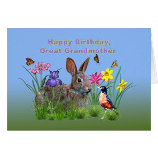 Birthday, Great Grandmother, Bunny, Butterflies Greeting Card