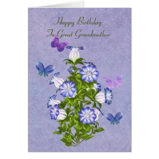 Birthday, Great Grandmother, Butterflies, Flowers Greeting Card