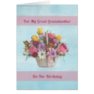 Birthday, Great Grandmother, Colorful Flowers Greeting Card