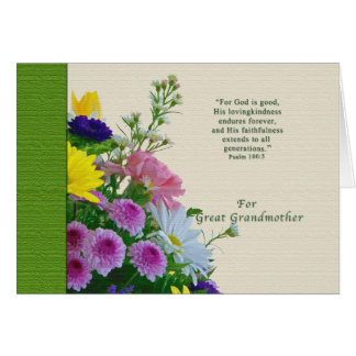 Birthday, Great Grandmother, Floral Bouquet Greeting Card
