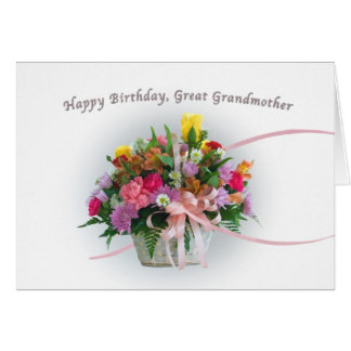 Birthday, Great Grandmother, Flowers in a Basket Greeting Card