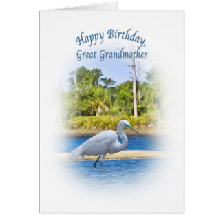 Birthday, Great Grandmother, Great Egret Greeting Card