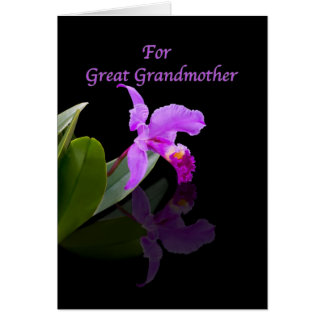 Birthday, Great Grandmother, Orchid Reflected on B Greeting Card
