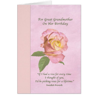 Birthday, Great Grandmother, Peace Rose Greeting Card