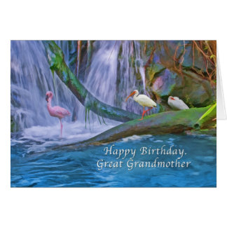 Birthday, Great Grandmother, Tropical Waterfall, Greeting Card