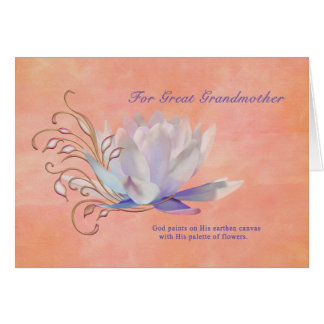 Birthday Great Grandmother Water Lily Religious Greeting Cards