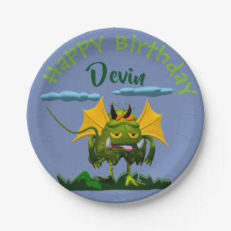 Birthday Green Swamp Monster Paper Plate