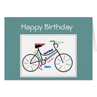 Birthday Greeting  Bike Cycle, Sport Motivational Card