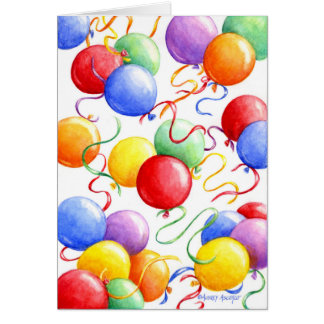 Birthday Greeting Card Colourful Balloons