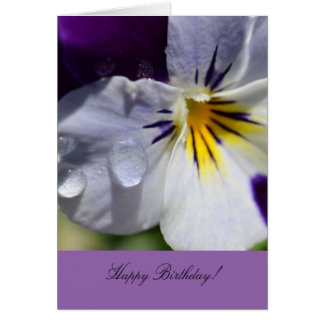 Birthday Greeting Card with Pansy Flower