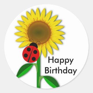 Birthday Greeting Round Sunflower Sticker, Glossy Round Sticker