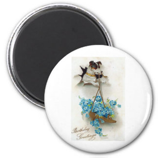 Birthday Greetings Cute Dog and Shoe Vintage 6 Cm Round Magnet
