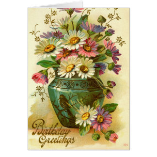 Birthday Greetings Flowers 1915 vintage Card