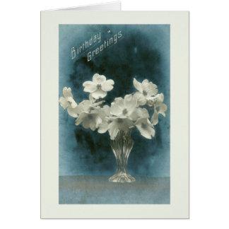 Birthday Greetings Pretty Vintage Dogwood Bouquet Card