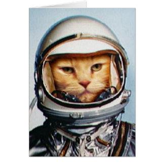 Birthday Greetings: Retro Astronaut Cat Greeting Card