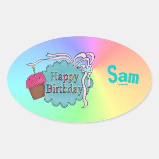 Birthday Happy Birthday Oval Sticker