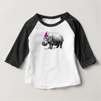 Birthday Hippo In Party Hat Baby T-Shirt