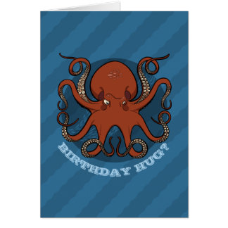 Birthday Hug Octopus Tentacles Cartoon With Text Card