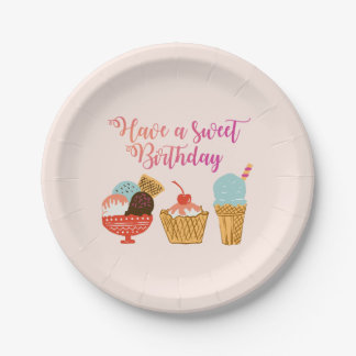 Birthday Ice Cream Illustration Paper Plate