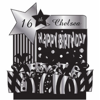 Birthday in Elegant Silver and Black | Personalize Standing Photo Sculpture