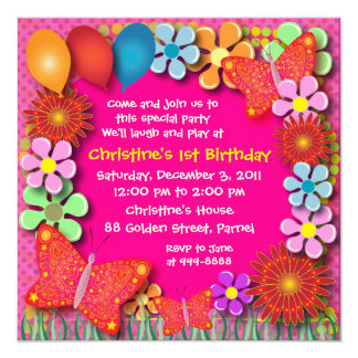Birthday Invitation: 003 Butterflies and Flowers Card