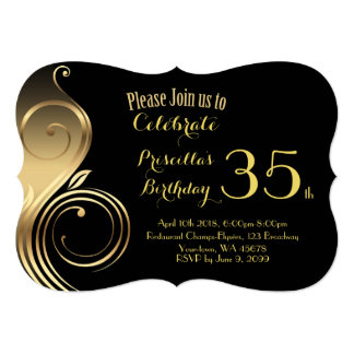 Birthday Invitation,any age,Gatsby style, black Card
