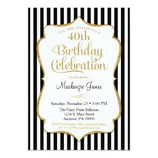 Birthday Invitation Black Gold Elegant Stripe