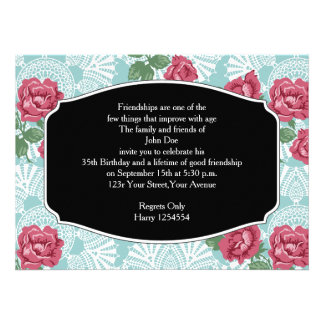 Birthday Invitation Country Chic Rose & Lace