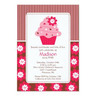 "Birthday Invitation Cute Flower Cupcake Pink Brown 5"" X 7"" Invitation Card"