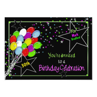 BIRTHDAY INVITATION - NAME/AGE INSERT-VIVID COLORS