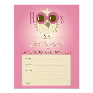 "Birthday Invitation Owl Card Pink Girl 4.25"" X 5.5"" Invitation Card"