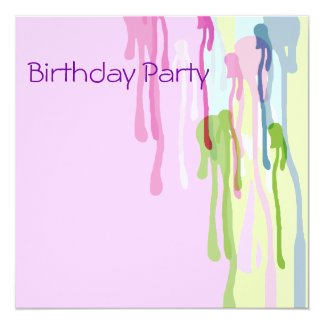 Birthday Invitation Pink Abstract