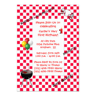 Birthday Invitation--Red Chequered Tablecloth Card