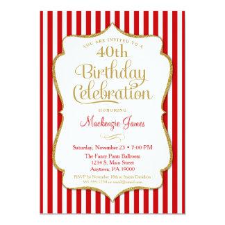 Birthday Invitation Red Gold Adult Teen Tween