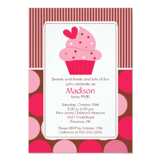 "Birthday Invitation Sweet Heart Cupcake Pink Brown 5"" X 7"" Invitation Card"