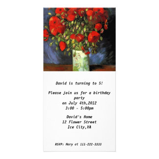 Birthday  Invitation.Vase with Red Poppies Photo Card Template