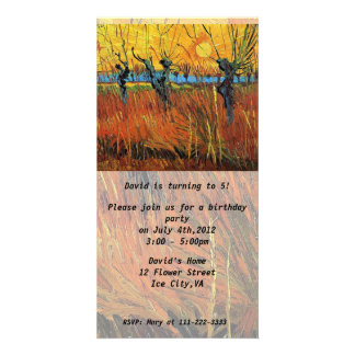 Birthday invitation.Willows at Sunset by van Gogh. Card