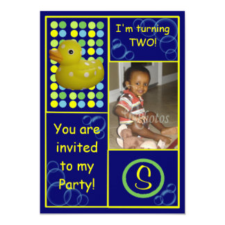 Birthday Invite - Dk.Blue/Yellow Duck, Photo