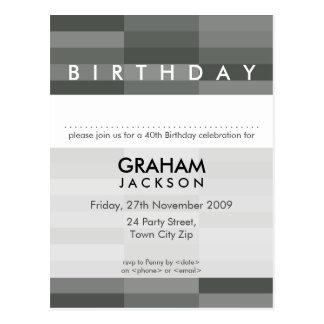 BIRTHDAY INVITE :: modern rectangular panel 7 Postcard